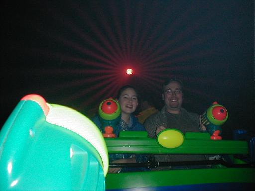 Jon and Amy ride Buzz Lightyear!